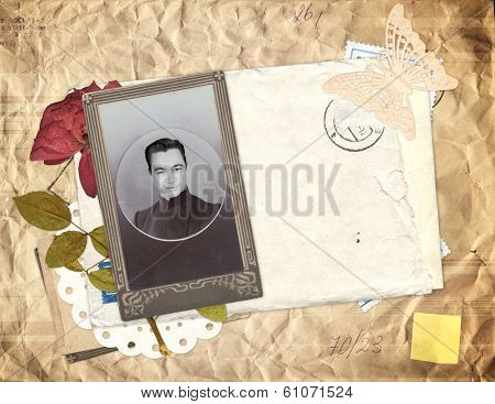 Old envelope, photo and dry rose flower for scrapbooking design