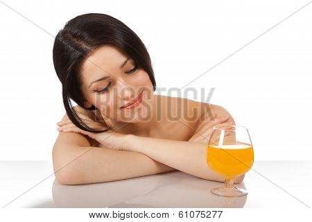 A Girl With A Glass Of Juice