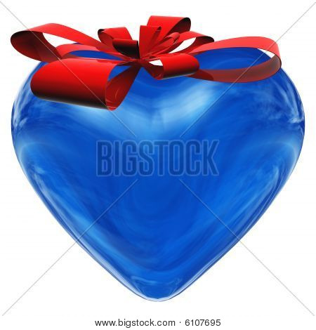 HIGH RESOLUTION 3D blue glass heart isolated on white