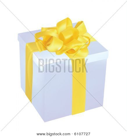 silver Gift Box With golden Ribbon illustration