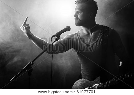 Rocker with Attitude Gives Finger