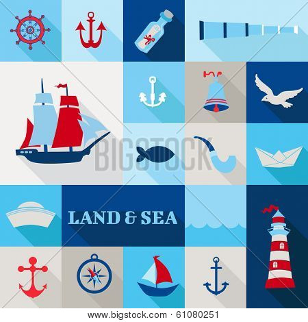 Set of Nautical Vintage Elements - for invitation, web, photo booth, design - in vector