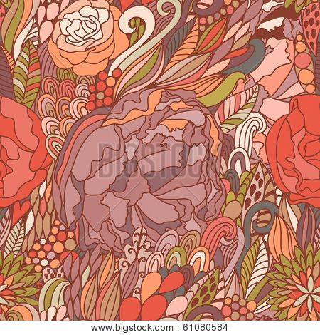 Absolutely gorgeous floral seamless pattern in pink colors. Stylish vector background made of bursts, peony flowers. Summer seamless pattern