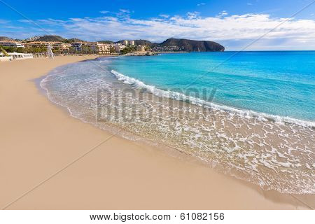 Moraira Playa la Ampolla beach in Teulada Alicante at Mediterranean Spain