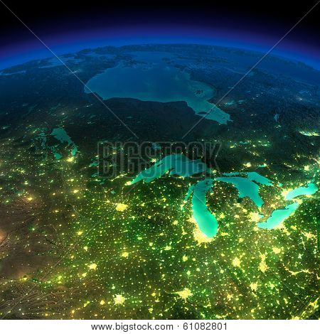 Night Earth. A Piece Of America - The Northern U.s. States And Canada
