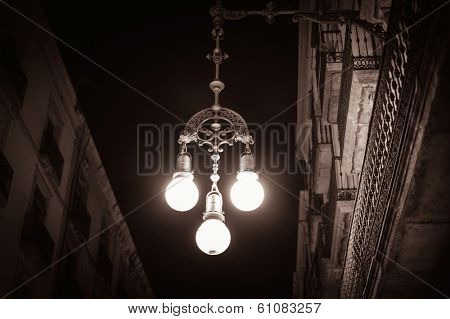 Streetlight on a street of Barcelona, Spain