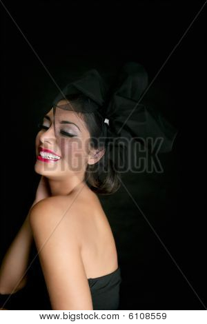 Brunette Glamour Fashion Smiling Over Black