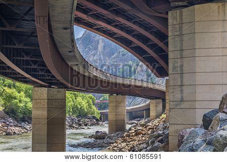 Colorado River and highway  bridges in Glenwood Canyon, Colorado