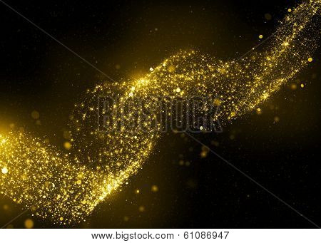 Gold glittering stars dust spiral background. Gold sparkle glitter background. Glitter stars background.