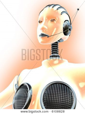 Robot woman wearing a headset