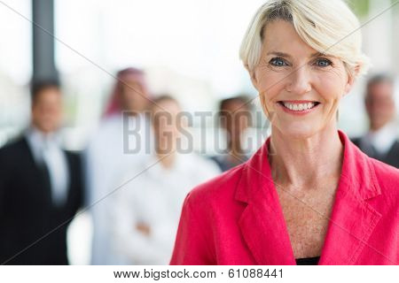 happy senior business woman close up