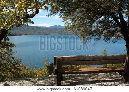 Bench over Whiskeytown Lake