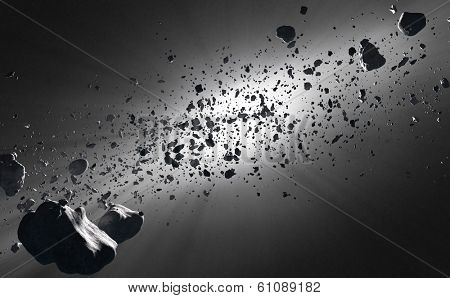 Inside the Asteroid belt  seen against the sun in deep space