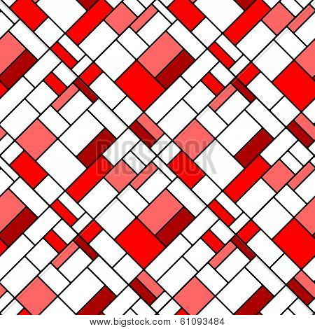 Colorful diagonal geometric squares mondrian style seamless pattern in red, vector