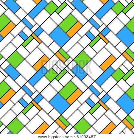 Colorful diagonal geometric squares mondrian style seamless pattern in blue and green, vector