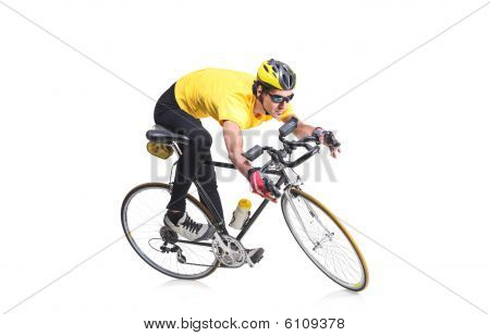 Cyclist Isolated Against White Background