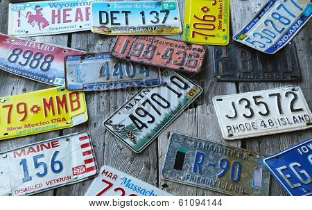 Old car license plates on the wall in Bar Harbor