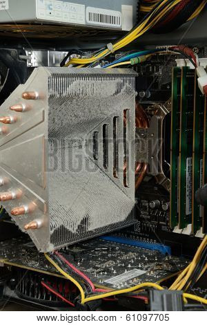 Dusty Cooling Fin Of Cpu In Computer