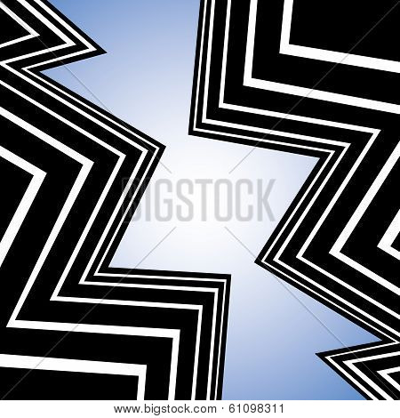 Abstract City Buildings As Background With Zig-zag Lines - Concept Vector