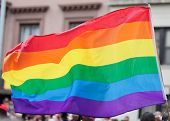 foto of bisexual  - Rainbow Flag on the Pride Parade in New York City - JPG