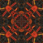 art nouveau ornamental vintage pattern in red, yellow and brown colors