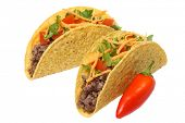 stock photo of tacos  - Tacos and red pepper - JPG