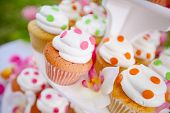 image of cupcakes  - Wedding cupcakes on a platter - JPG