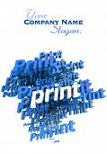 Blue and white 3D illustration with the word print repeated in different shades