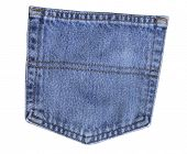 image of blue things  - Back pocket of blue jeans on white background - JPG