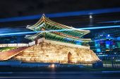 pic of south east asia  - Tail lights streak by Namdaemun Gate in Seoul South Korea - JPG