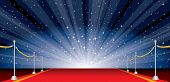 stock photo of drama  - vector illustration with red carpet and star burst - JPG