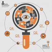 Puzzle in the form of an abstract magnifying glass surrounded infographic business. Business concept