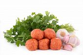 stock photo of meatball  - raw meatballs - JPG