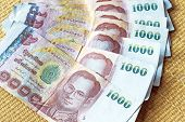 Thai baht money in thousand banknotes
