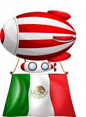Illustration of the flag of Mexico attached to a floating balloon on a white background