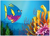 Illustration of an underwater view with a big fish and beautiful coral reefs on a white background