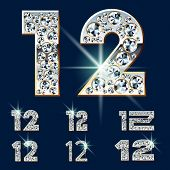 Ultimate vector alphabet of diamonds and platinum ingot. Six options. Numbers 1 2