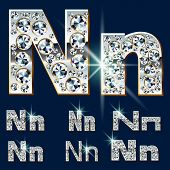 foto of letter n  - Ultimate vector alphabet of diamonds and platinum ingot - JPG