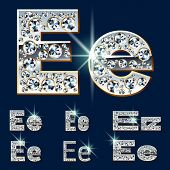 Ultimate vector alphabet of diamonds and platinum ingot. Six options. Letter e