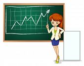 Illustration of a woman in front of the blackboard on a white background