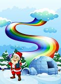 pic of igloo  - Illustration of a smiling Santa near the igloo with a rainbow in the sky - JPG