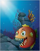 stock photo of piranha  - Illustration of a scary piranha under the sea near the rocks on a white background - JPG