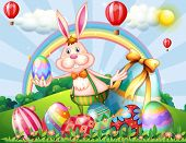 stock photo of hilltop  - Illustration of a bunny at the hilltop with Easter eggs - JPG