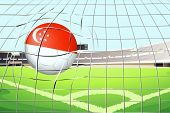 Illustration of a soccer ball with the flag of Singapore hitting a goal