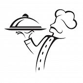 picture of apron  - chef with tray of food in hand - JPG