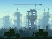 stock photo of skyscrapers  - Horizontal illustration of construction site with cranes and skyscraper with tractors bulldozers excavators and grader in blue tone - JPG