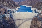 picture of hydroelectric power  - Hoover Dam and Colorado river near Las Vegas Nevada - JPG