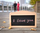 I Love You. Handwritten message on a chalkboard