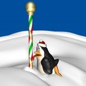 image of north-pole  - Poor little penguin in a red and white Santa hat with his tongue stuck to the North Pole - JPG