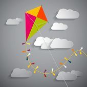 picture of kites  - Paper Kite on Sky with Clouds  - JPG